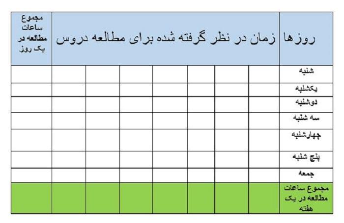 جدول برنامه ریزی درسی + دانلود نمونه جدول pdf