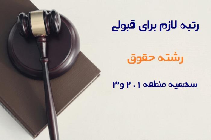 رتبه لازم برای قبولی در رشته حقوق